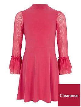 river-island-girls-pink-pleated-sleeve-skater-dress