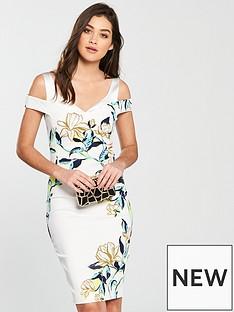 karen-millen-karen-millen-magnolia-print-signature-stretch-dress