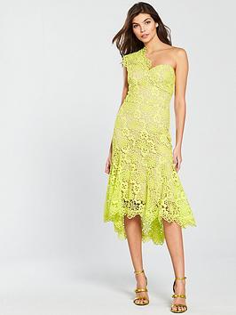 Karen Millen Bi-Colour Chemical Lace Dress - Lime