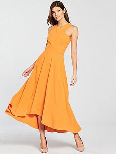 karen-millen-colourful-midi-day-dress-orange