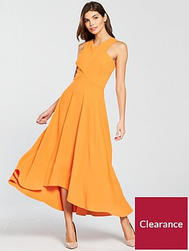 karen-millen-colourful-midi-day-dress-orange