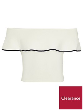 river-island-white-knit-frill-bardot-top