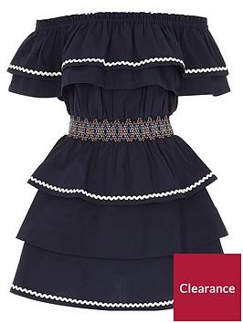 river-island-girls-navy-shirred-waist-frill-bardot-dress