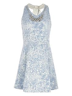river-island-girls-blue-necklace-twist-back-skater-dress