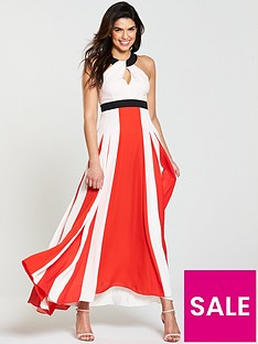 karen-millen-colour-block-pleated-halter-dress-red