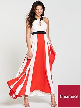 karen-millen-colour-block-pleated-halter-dress-red