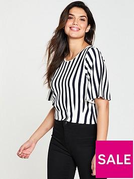 karen-millen-striped-cropped-jersey-top