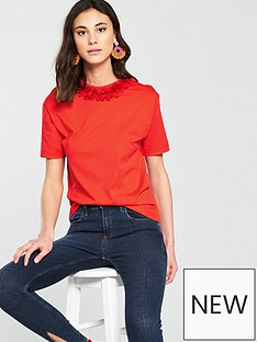 river-island-flower-neck-t-shirt--red