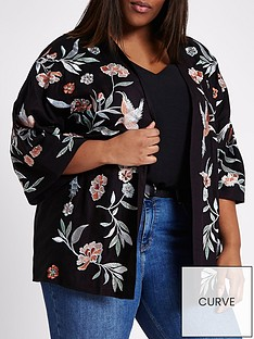 ri-plus-bird-print-kimono-black