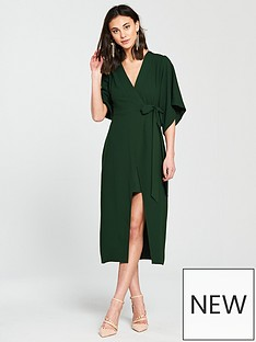 river-island-river-island-wrap-front-waisted-dress--green