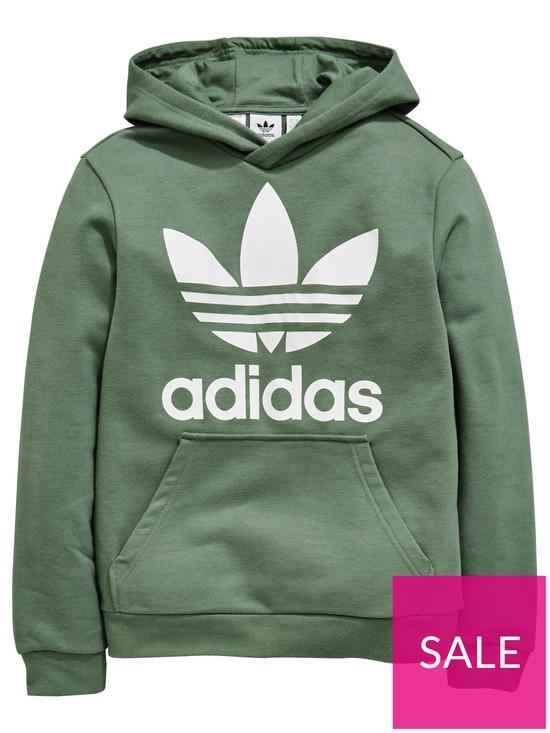 7d14e24dd adidas Originals Boys Trefoil Hoodie - Green   very.co.uk