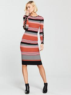 river-island-river-island-stripe-lace-up-sleeve-bodyfit-dress--tan