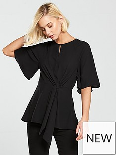river-island-tie-front-blouse-black