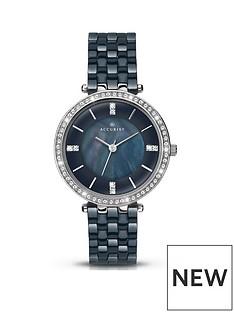 accurist-accurist-ladies-dark-blue-ceramic-watch