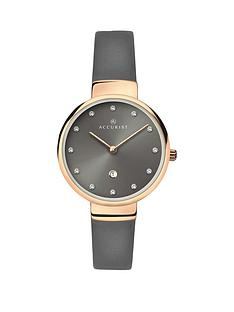accurist-ladies-grey-strap-watch