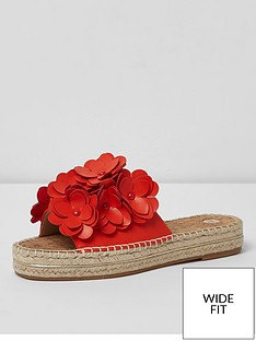 river-island-wide-fit-flower-mules-red