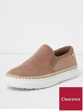 river-island-river-island-wide-fit-slip-on-plimsoll--mink