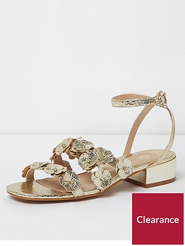 river-island-river-island-flower-strap-heeled-sandals--gold