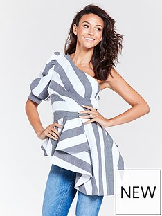 michelle-keegan-one-shoulder-blouse-stripe