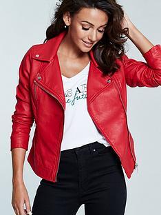 michelle-keegan-faux-leather-biker-jacket-red