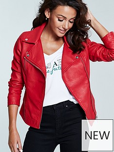 michelle-keegan-faux-leather-biker-jacket-red