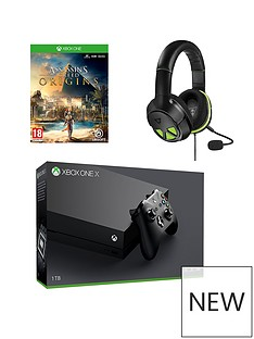 xbox-one-x-console-plus-assassin-creed-and-xo-three-headsetnbsp-optional-12-months-live-andor-extra-controller