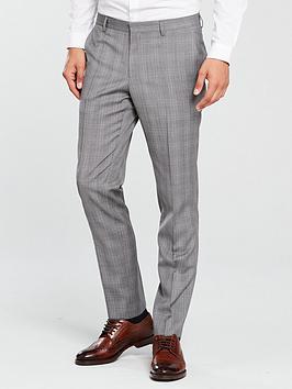 HUGO Pow Slim Trouser, Grey Check, Size 46 = Uk 30, Inside Leg Regular, Men thumbnail