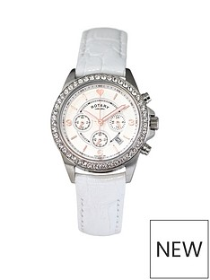 rotary-rotary-chronograph-and-stone-set-dial-with-white-leather-strap-ladies-watch
