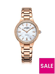 rotary-kensington-mother-of-pearl-dial-with-stone-set-bezel-and-rose-gold-stainless-steel-strap-ladies-watch