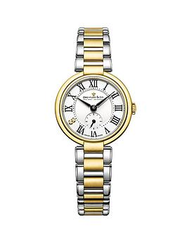 dreyfuss-co-1974-white-roman-stainless-steel-bracelet-ladies-watch