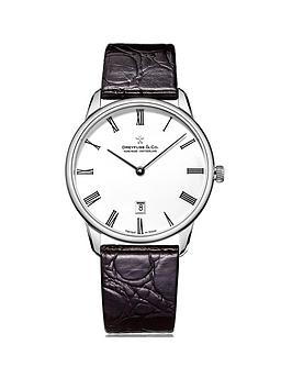 dreyfuss-co-white-printed-roman-dial-stainless-steel-strap-mens-watch