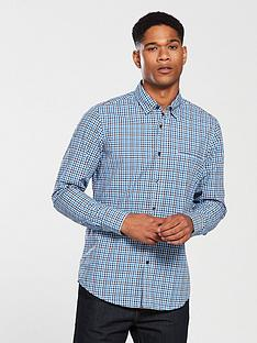 boss-casualnbsplong-sleeve-check-shirt-bright-blue