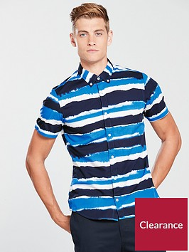 tommy-hilfiger-slim-striped-short-sleeve-shirt-blue