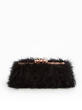 ted-baker-janiie-faux-feather-evening-clutch-bag-black