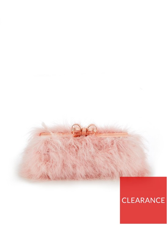 Ted Baker Janiie Faux Feather Evening Clutch Bag - Light Pink   very ... 80a6891967