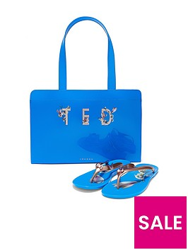 ted-baker-fizz-harmony-flip-flop-and-icon-bag-set-bright-blue