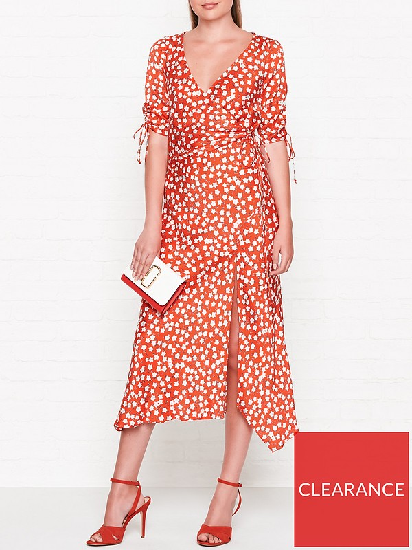 65d7e6a3c0 BEC & BRIDGE In Your Dreams Printed Wrap Midi Dress - Red | very.co.uk