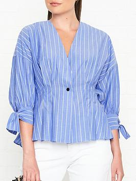 by-malene-birger-trivano-single-button-stripe-shirt-blue