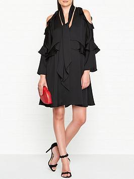 by-malene-birger-alberto-cold-shoulder-ruffle-sleeve-dress-black