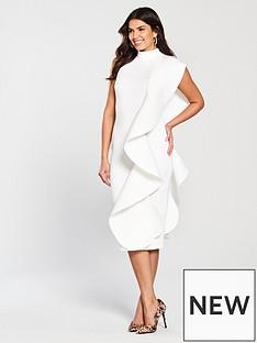 lavish-alice-scuba-frill-midi-dress-white