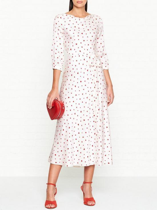 Love Spell Heart Print Midi Dress - Ivory