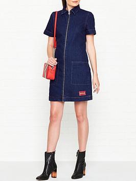 calvin-klein-zip-front-denim-diner-dress-blue