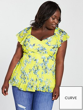 v-by-very-curve-pleated-blouse-yellow