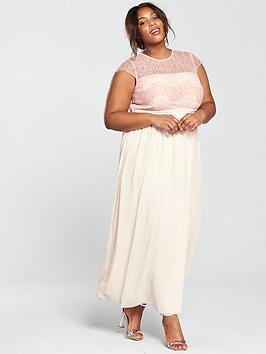 Little Mistress Curve Embellished Lace Top Maxi Dress