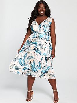 Little Mistress Curve Printed Wrap Dress