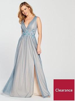 little-mistress-petite-v-neck-split-front-maxi-dress