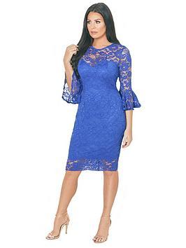 Jessica Wright Luisa Lace Flute Sleeve Midi Dress