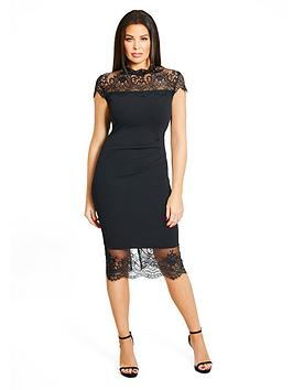 Jessica Wright Madelyn Midi Dress With Lace Inserts - Black