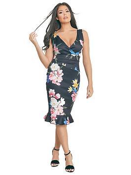 Jessica Wright Rosalina Floral Print Bodycon Midi Dress