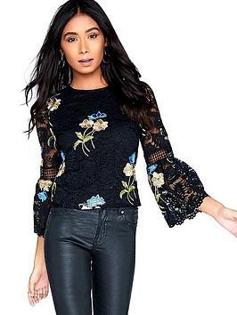 Girls On Film Floral Print Fluted Sleeve Top - Black